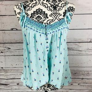 Hollister Baby Doll Tank Top Blue Floral Small
